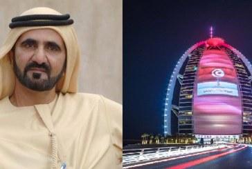 نائب رئيس دولة الإمارات العربية يهنئ المنتخب بالترشح للمونديال.. وبرج العرب يتزين بالعلم التونسي