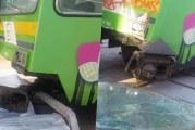 إصابات في اصطدام مترو بباب مستودع في باب سعدون