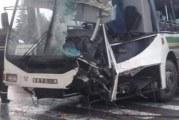 46 مصابا في حادث اصطدام الحافلتين بشارع محمد الخامس