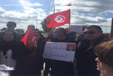 أنصار نبيل القروي ومن نواب قلب تونس يعتصمون أمام مقر القطب القضائي الإقتصادي والمالي